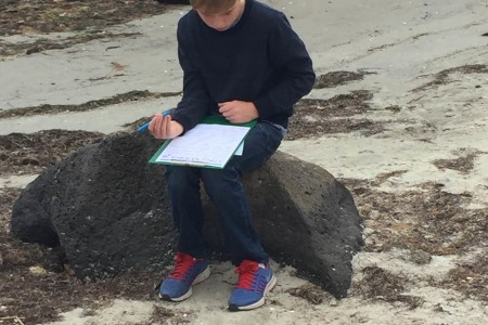 Ben Dunkley checking off the treasure hunt list at Jawbone Marine Sanctuary