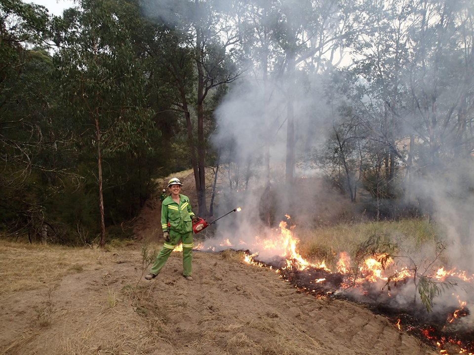 Ranger Deb Cross at Gil Groggin Fire north of Buchan